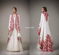 manteaux de soirée achat en gros de-Caftan arabe traditionnel Abayas pour musulman col haut blanc en mousseline de soie rouge broderie robes de soirée arabes avec manteau robe de mère formelle