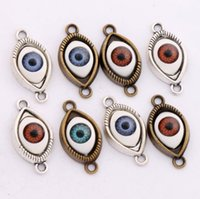 Wholesale Hamsa Eye Evil Bracelet Connector - Evil Eye Hamsa Connector Charm Beads 50pcs lot 5Colors Antique Silver Bronze Connector For Friendship Bracelet L1662 Alloy