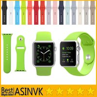 Wholesale Silver Silicone Bracelets - For Apple Watch 38 mm 42 mm Original 1:1 Design Silicone Band With Connector Adapter Clip for iPhone iWatch Sport Buckle Bracelet