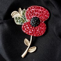 Wholesale Black Rhinestone Flower Brooch - British Remembrance Day Red Flowers Rhinestone Poppies Poppy Flower Brooch Thick Pins Fashion Crystal Brooches Jewelry Fast Delivery