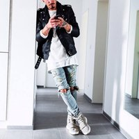 jeans großes loch knie großhandel-Neue Herbst Distressed Skinny Ripped Hip Hop Jeans Herren Big Hole On Knie Swag Streetwear Kleidung Destroy Denim Pants
