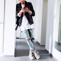 jeans grande furo joelho venda por atacado-New Outono Angustiado Rasgado hip hop Jeans Mens Grande Buraco No Joelho Ganhos Streetwear Roupas Destruir Calças Jeans