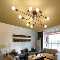 moderno levou longas luzes pendant venda por atacado-Personalidade do teto da lâmpada pingente lustre de iluminação led longo teto do ferro lâmpada moderna luminárias de teto, personalização da lâmpada