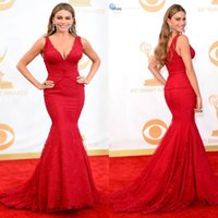 Wholesale Deep V Neck Award - Free Shipping Charming Deep V Neck Evening Dresses Sofia Vergara Red Mermaid Lace Celebrity Dress Emmy Awards 2016 Red Carpet Gowns