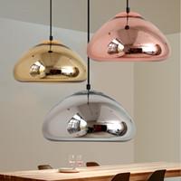 Wholesale Brass Ceiling Lights - Void Copper Brass Bowl Mirror Glass Modern Pendant Lamp Chandelier Ceiling Light For Dinning Room Kitchen Bar Home Decor