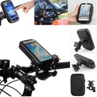 Wholesale Waterproof Android Phone Case - Black Waterproof Case Stand Mount Motorcycle Bicycle Bike with Mobile Phone Bag for Samsung Android Apple iPhone Holder Bracket DHL EMS