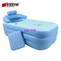 Wholesale Pvc Bathtub - DHL Adult Spa PVC Folding portable plastic bath tub for adults Inflatable Bathtub size 160cm*84cm*64cm + Foot Air Pump Free Ship