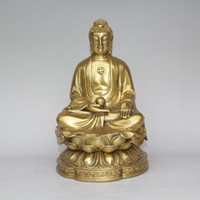 buddha shakyamuni statue großhandel-Tibet Buddhismus Messing Kupfer Sit Lotus Blume Shakyamuni Tathagata Buddha Statue