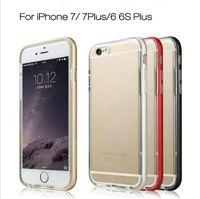 Wholesale Metal Bumper Cases - For iphone X 8 7 6 6s plus Hybrid Metal CASE Aluminium Frame Bumper Bumpers Soft Clear Transparent TPU cover case