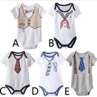 bebek donanma kıyafeti toptan satış-Pamuk Donanma kravat yenidoğan bebek Romper sailor bebek Tulum toddler çocuklar çocuk tek parça giysi çocuk yaz dış giyim kıyafetler