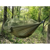 Barato Rede Interior Isolada-2016 Mais nova moda Hammock Handy Single Person Portable Portable Parachute Tecido Mosquito Net Hammock para Indoor Outdoor Camping Usando
