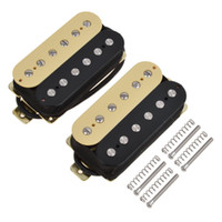 puentes negros al por mayor-Double Coil Humbucker Pickups Bridge Neck Set para piezas de guitarra eléctrica Black / Cream