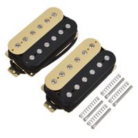 siyah parçalar elektrikli gitar toptan satış-Çift Bobin Humbucker Manyetikler Köprü Boyun Elektrik Gitar Parçaları Siyah için Set / Krem