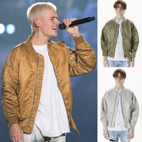 Wholesale Biker Bomber - New Bomber Jacket FEAR OF GOD Justin Bieber Oversized Jacket Men Winter Parka Coat Gold Silver Black Hip Hop Biker Jackets OSG1007