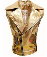 Wholesale Mens Silver Leather Jacket - Mens Punk Rock Costumes Gothique Vest Coat PU Leather Waistcoat Shiny Gold Silver Short Jacket Singer Dancer Performance Males