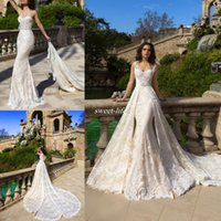 Wholesale Crystal Beads For Wedding Dresses - Full Lace A-Line Wedding Dresses Champagne Lining with Detachable Train Over Skirt Sweetheart Neck 2016 Spring Fall Bridal Gowns for Wedding