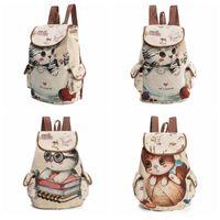Wholesale Hot Kids Backpacks - Hot Sale Cute Cats Canvas Shoulder Bag Jacquard Embroidered Kids Teenager Girls Backpack School Bags CCA7577 20pcs