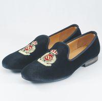 Wholesale British Fabrics - Fashion Men Loafers Slip on Mens Velvet Shoes Casual Velvet Slippers British Dress Shoes Men's Flats Wedding and Party Shoes Size US 7-14