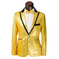 Wholesale Male Straight Jacket - New Brand Sequined Costume Mens Wedding Suits Groom 2016 Male Formal Mens Blazers Slim Fit Suits Jacket With Pants Plus Size 6XL