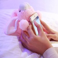 Wholesale Bunny Iphone Covers - 3D Bunny Doll Cell Phone Cases For iPhone 8 7 7Plus 6S Plus Plush Toy Lovely Cute Rabbit Fur Ball Cover With Chain
