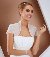 casaco de organza bolero wrap venda por atacado-Elegante Organza Jaqueta De Casamento Mangas Tampadas De Noiva Wraps Wedding Capes Custom Made Wedding Shrug Bolero 2015 Xales Wraps