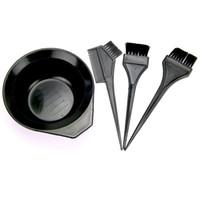 Wholesale Hair Salon Tint Brush - 4Pcs Set Hairdressing Brushes Bowl Combo Salon Hair Color Dye Tint Tool Set Hair Coloring Kit Black