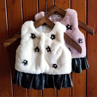 Wholesale White Faux Fur Vest Baby - Autumn 2017 Baby Girls Faux Fur Waistcoats Kids Girls Flower Pearl Outwear Girls Princess Warm Vests Baby Clothes