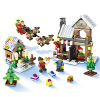 Wholesale Toy Wooden House Block - Christmas Village Santa Claus Wooden House tree Funny Building Blocks elk car Figures Best Gift Present Toys for Kids #1001