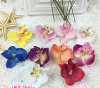 Wholesale Plum Flower Ring - 100pcs new simulation butterfly orchid flower head wedding ring cake decoration materials decorative flower wholesale