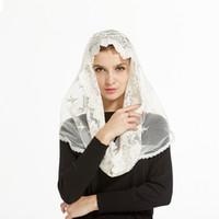 Wholesale Lace Scarf Wholesale - Wholesale- 2017 Lady women Ivory Lace Infinity Mantilla Chapel Veil Traditional catholic chapel veil hijab scarf bandana face mask scarf