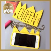 Wholesale Case Iphone Vip - Fashion Product VIP 3D Yellow Crown Queen Silicone Phone Case for iPhone 5 5s 6 6s 6plus 6splus