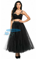 Wholesale Tutu Woman S Skirt - 2017 Hot Black Tutu Tulle Skirt Maxi ankle length Bridesmaild Wedding Party wearing Women Prom S Elastic custom Plus Size and color