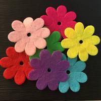 Wholesale Make Felt Flowers - NEW 50PCS Mix 35mm Padded Felt Spring Flower Appliques Crafts Wedding Making DIY