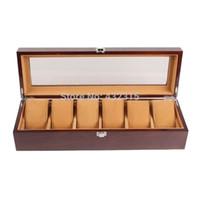 ingrosso porcellana di fabbrica di monili-Contenitore di monili dell'esposizione di vendita di legno di alta qualità di 6 griglie Contenitore di imballaggio della Cina L'imballaggio della fabbrica di imballaggio può personalizzare