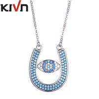 Wholesale Evil Eye Green - KIVN Womens Fashion Jewelry Turkish Evil eye Horseshoe CZ Cubic Zirconia Wedding Bridal Pendant Necklaces Mothers Birthday Gifts