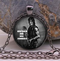Wholesale Crossbow Gold - THE WALKING DEAD Necklace Pendant DARYL DIXON Crossbow Rick Grimes punk Gothic Glasses ancient Pendant Necklace gift Chain