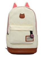 Wholesale Leopard Cat Ears - Canvas Backpack For Women Girls Satchel School Bags Cute Cat Rucksack School Backpack children Cat Ear Cartoon Women Bags