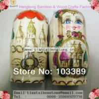 Wholesale Bear Nesting Dolls - Hot Sale refind 6PCS SET of Beautiful Wooden Russian Nesting Dolls matryoshka Doll coloured drawing decoration
