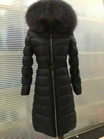 Wholesale Women Winter Coats Uk - M0806 UK style New real Famous Brand 90% Duck Down jackets with belt women's Winter Coats Parka natural big fox fur hooded X-long