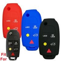 ingrosso telecomandi volvo-4 + 1 Pulsanti Key Fob Cover Skin Remote Case Cover Keyless Entry Shell per VOLVO S60 S80 V70 XC70 XC90 LQNP2T-APU