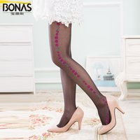 Wholesale Bonas Pantyhose - Wholesale-BONAS Women Jacquard Pantyhose Cute Rose patterned by leg sides Patterned Wave Border Jacquard Pantyhose Control Top Pantyhose