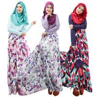 moda casual islamica al por mayor-Moda musulmana servicio de oración Nuevas mujeres árabes batas de manga larga ropa étnica islámica Moda impresión Casual Dress