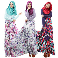 islamische lässige mode großhandel-Mode muslimischen Gebet Service neue arabische Frauen Roben langen Ärmeln islamischen ethnischen Kleidung Mode Druck Casual Dress