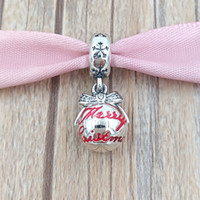 Wholesale Merry Christmas Pendant - Christmas 925 Sterling Silver Beads Merry Christmas Bauble Pendant Charm Fits European Pandora Style Jewelry Bracelets & Necklace 792008CZ