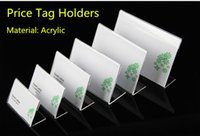 Wholesale Acrylic Price Tags - Clear 60x40mm L Shape Acrylic Table Sign Price Tag Label Display Paper Promotion Card Holder Stand 100pcs High Quality free shipping