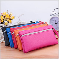 Wholesale Cheap Cell Phone Wallets - New Cheap Leather Women Long Wallets Ladies Travel Wallet Zipper Purses Clutch Candy Colors Wedding Fashion Party TRD-027