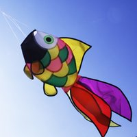 Wholesale Wholesale Kids Kites - Wholesale- Nylon Rainbow Fish Windsock Flags Decorative Kite Windsock Wind Socks Spinner For Garden Backyard Porch Duck Camping Kids Toys
