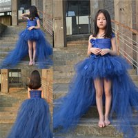 Wholesale Show Girls Dresses - Blue Flower Girl Dresses Catwork Show Tutu Dress Front Short Girls Pageant Dresses Princess Children's Clothing Baby Gown