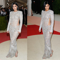 Wholesale Long Sleeve Gala Dresses - Kendall Jenner Kylie Jenner Met Gala 2016 Red Carpet Fashion Celebrity Dresses Cutaway Illusion Beaded Evening Gowns
