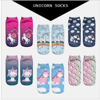 Wholesale Food Art Prints - Women Unicorn Socks 3D printing Ankle cartoon Animal food print Hip Hop Socks Cute Unicorn Art Socks KKA2821